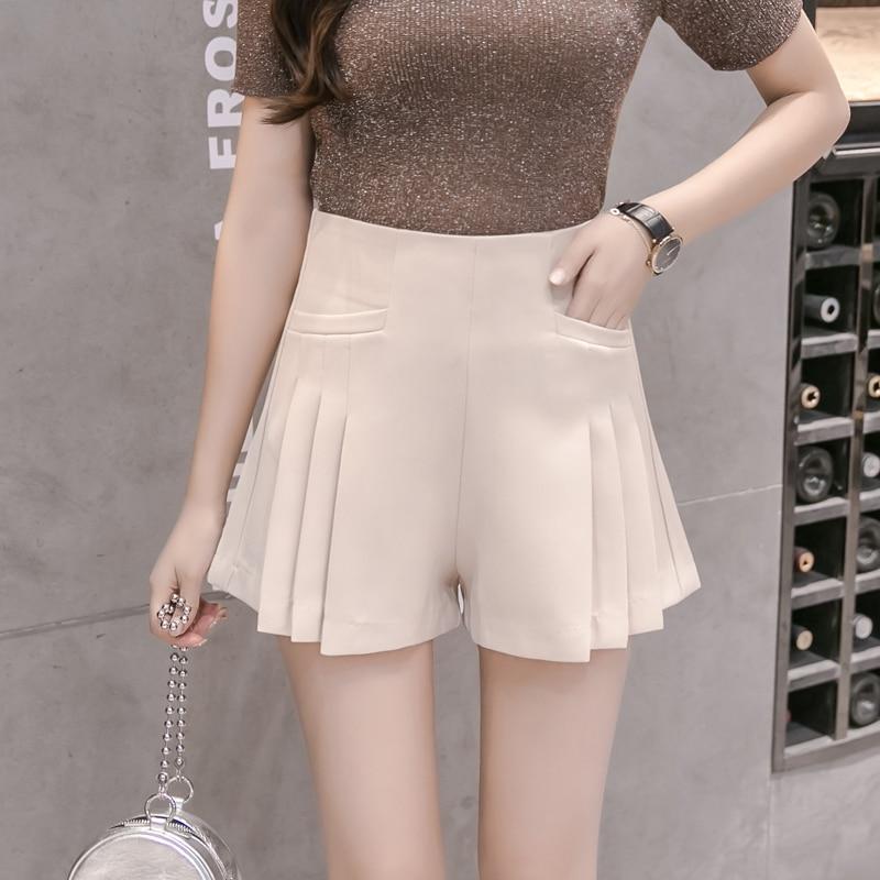 Summer New 2019 Women Fashion High Waist Pleated   Shorts   Women's Loose Wide Leg Pocket   Shorts   Beige Black Khaki   Short   Trousers