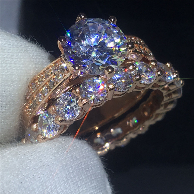 Fashion Couple Anniversary ring 3ct AAAAA Zircon Cz Rose Gold Filled 925 silver wedding band rings set for women Men Jewelry