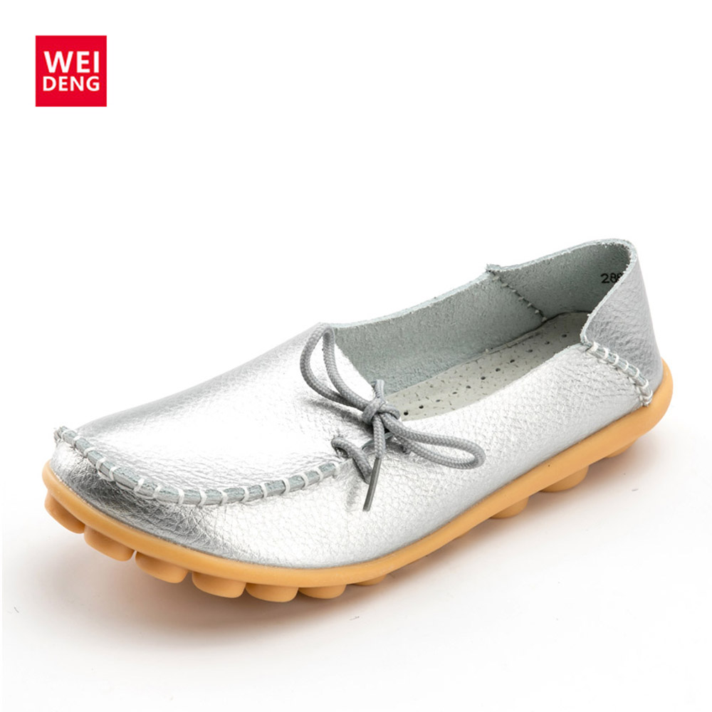 WeiDeng Women Genuine Leather Flat Moccasin Loafer Casual Ladies Slip On Cow Driving Fashion Ballet Boat Summer 2018 Shoes 2016 men s casual crocodile genuine leather boat shoes slip on velvet loafers moccasin fashion flat shoes men s loafer shoes new