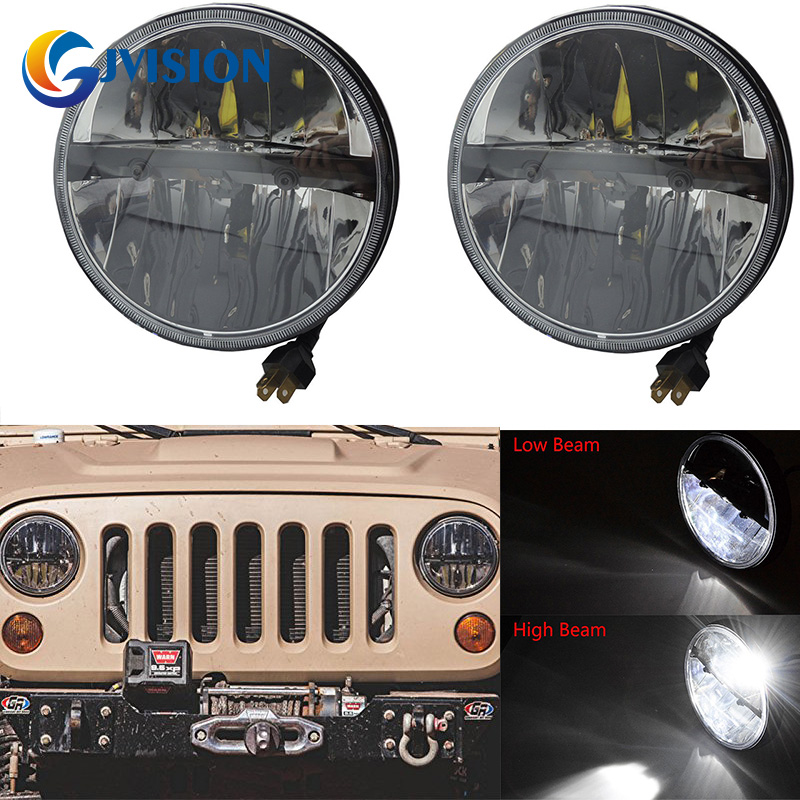 Pair 7 inch led Projector Daymaker headlights for Jeep Wrangler CJ JK TJ Motorcycle Offroad headlamp High/Low Beam 2pcs 7 inch round led headlights angle eyes headlamp head light for jeep wrangler jk tj cj 8 scrambler high low beam