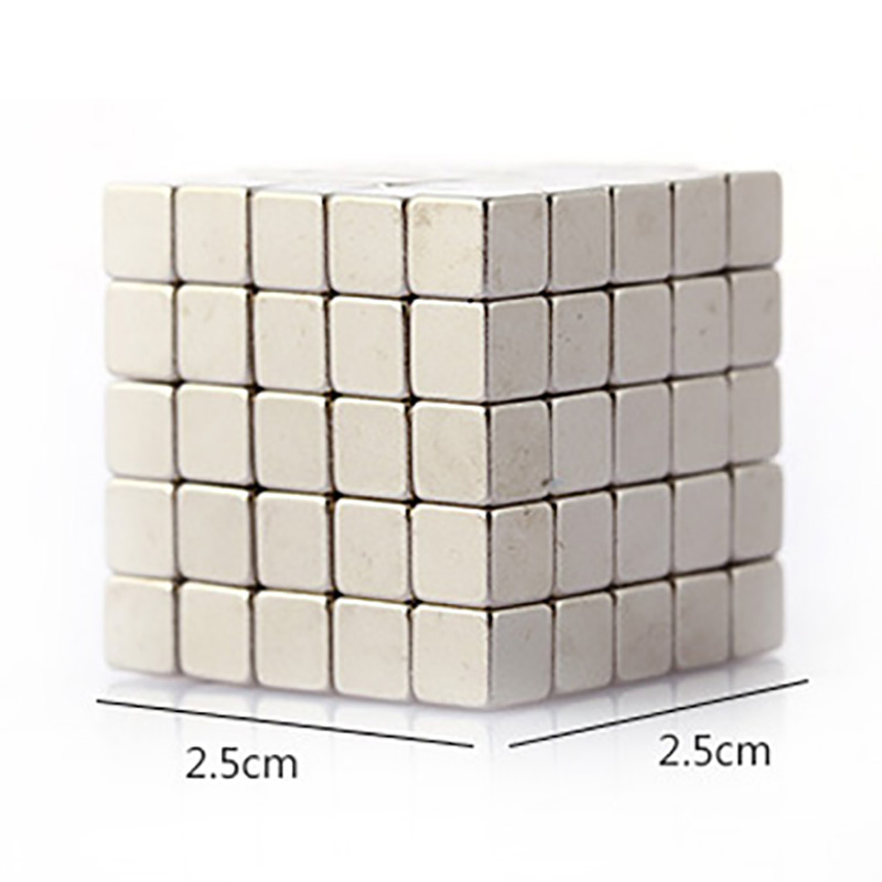 125pcs Silver Neodymium Square (5mm) Magnetic Puzzle Board Game Kits Puzzle NeoKub Magnetic Beads With Metal Box