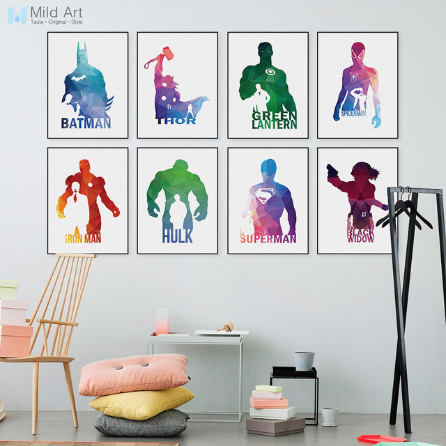 Geometric Superhero Batman Captain Baby Kids Room Pictures Canvas Paintings  America Movie Posters And Prints Wall Art Home Decor