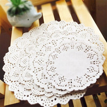 100pcs 7.5/8.5/9.5/10.5 Napkin Romantic White Round Hollow Lace Paper Doilies Cake Holder Crafts Doyleys Table Decoration