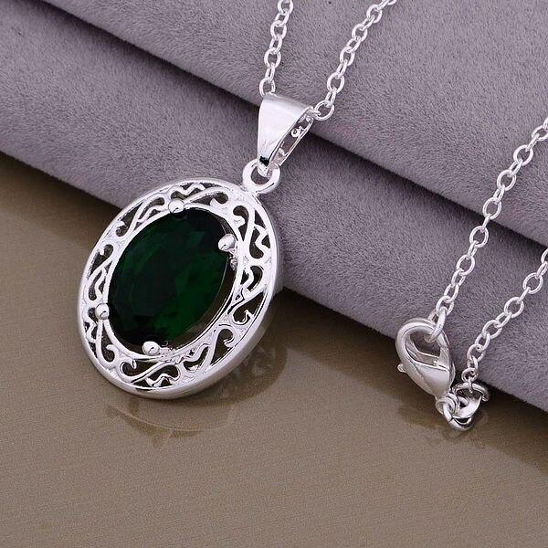 937102f057e7 AN879 Hot 925 collar de plata 925 joyería de moda colgante de joyería piedra  verde hjnaqaua bnzakfga