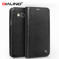 QIALINO Wallet Style For Samsung Galaxy E7 Genuine Leather Case Top Grade Flip Cover With Card
