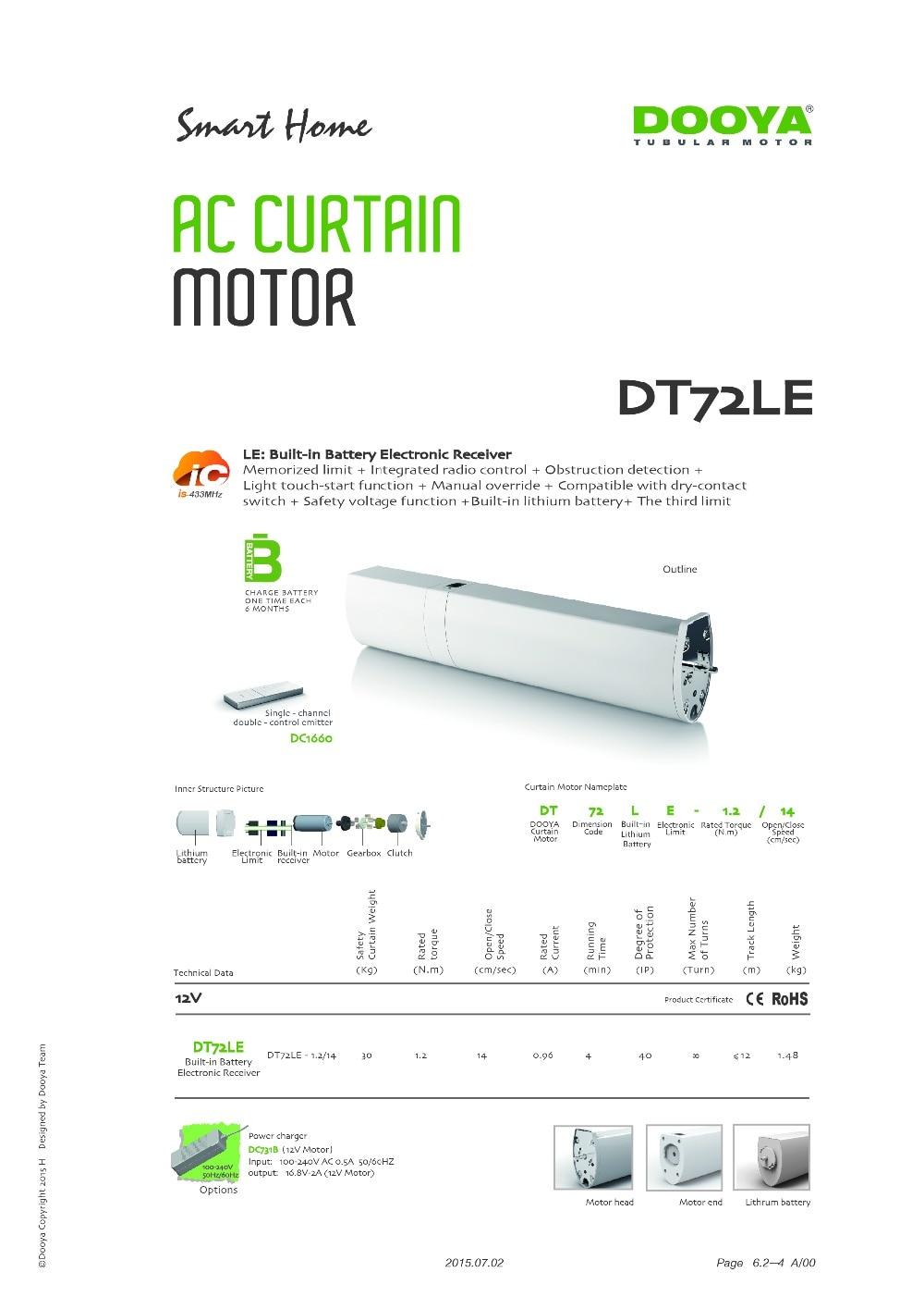 Freundschaftlich Dooya Vorhang Motor Dt72le Kapazität Keine Notwendigkeit Verdrahtung 50 Kg Eingebaute Batterie Dt82le Dt980le 12 V Sichere Spannung.