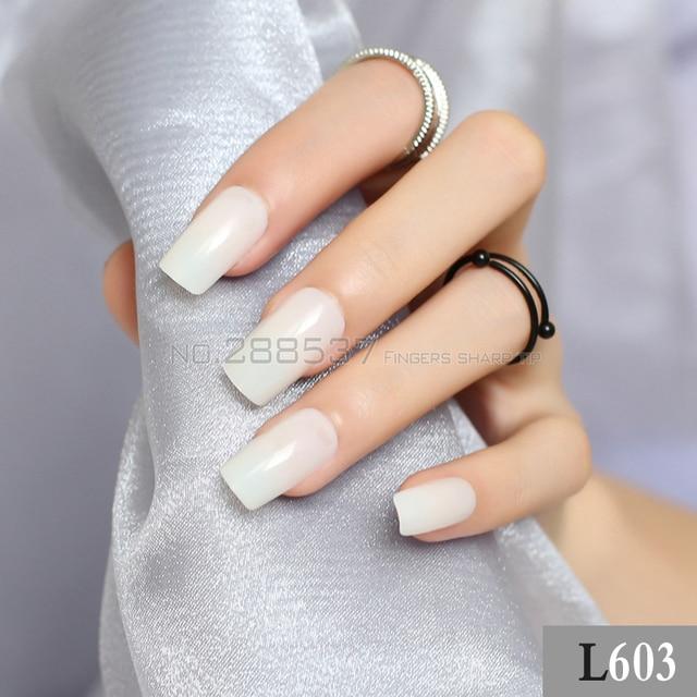 DIY Transparent natural color long sectionsquare head false nails ...