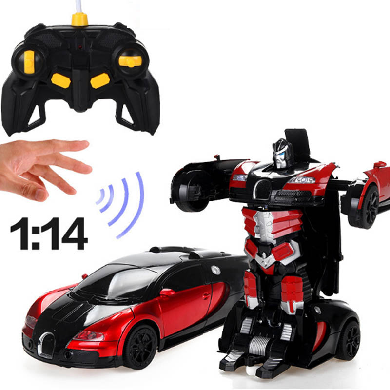 Children 's Birthday Car Sports Car Transformation Robots Models Remote Control Deformation Car RC fightingGiFT toy Kids