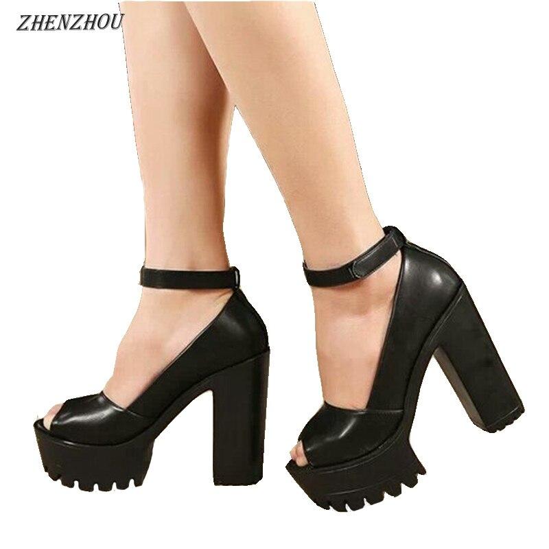 ZHENZHOU 12CM pompes 2019 été style Sexy ouvert femmes sandales à talons épais sandales moraillon mode plate-forme chaussures femmes chaussures hautes