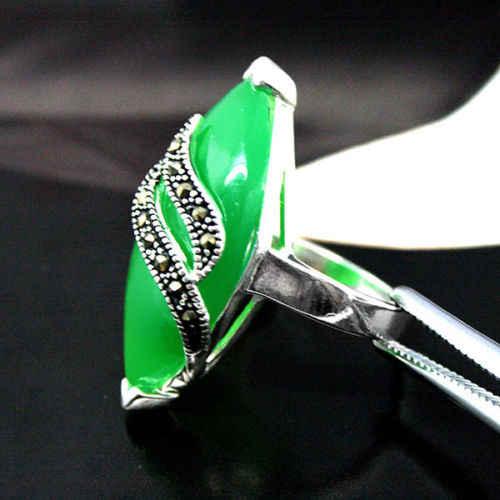 หายากสีเขียวJADESแมกกาไซด์เงินH ANDCRAFTEDเครื่องประดับแหวนSIZE7/8/9/10