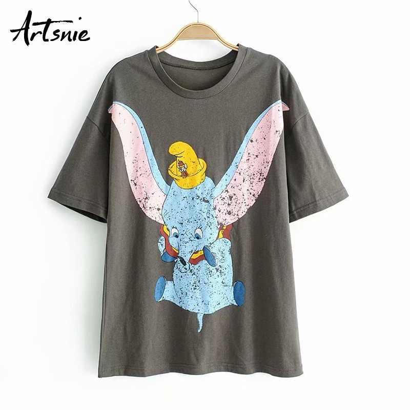 e44e569f Artsnie summer 2019 cartoon gray women's t-shirt o neck short sleeve  streetwear tops female