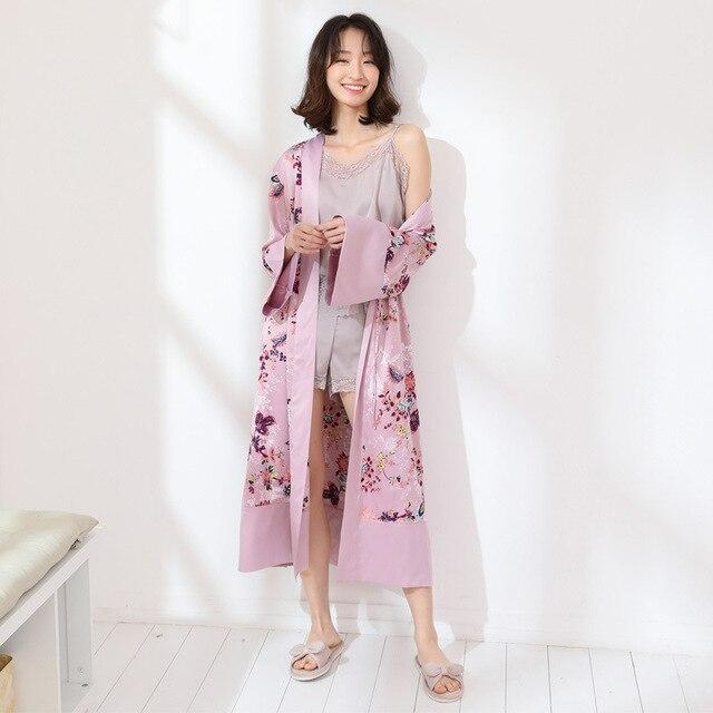 6152a9204d Long Silk Robe for Women Silk Bathrobe Feminine Satin Dressing Gown for Women  Silk Peignoir Women s Kimono Robe Sexy Bath Robe