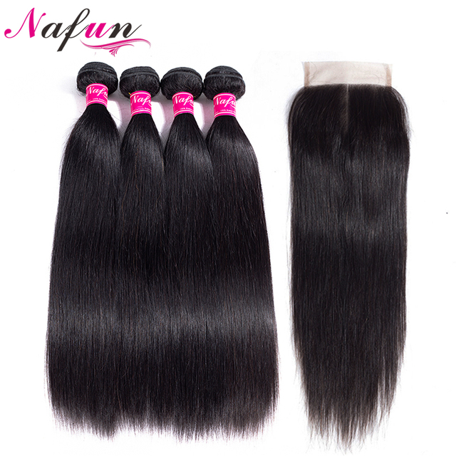 NAFUN Hair Straight Brazilian Natural Color Hair 4 Bundles With 4*4 Lace Closure 8-26 Inches 100% Non Remy Human Hair Weave