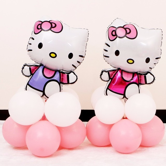 New 1 Set Cute Hello Kitty Pink Balloons Decoration Birthday Baby