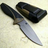 New Black Outdoor Camping Hunting Survival Knife Large Folding Pocket Knife With Sheath