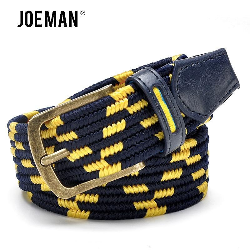 Módní Pánské strečový opasek se splétaným stylem starožitné mosazné přezky žluté a námořnické barvy řemínek elastický mužské pásy