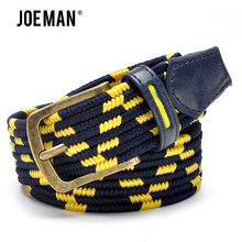 Fashion Men Stretch Belt With Braided Style Antique Brass Buckle Yellow And Navy Color Strap Elastic Male Belts