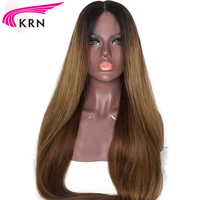 KRN Hair Ombre Color Lace Front Human Hair Wigs with Baby Hair Pre Plucked Hairline Remy Brazilian Straight Hair Glueless Wigs