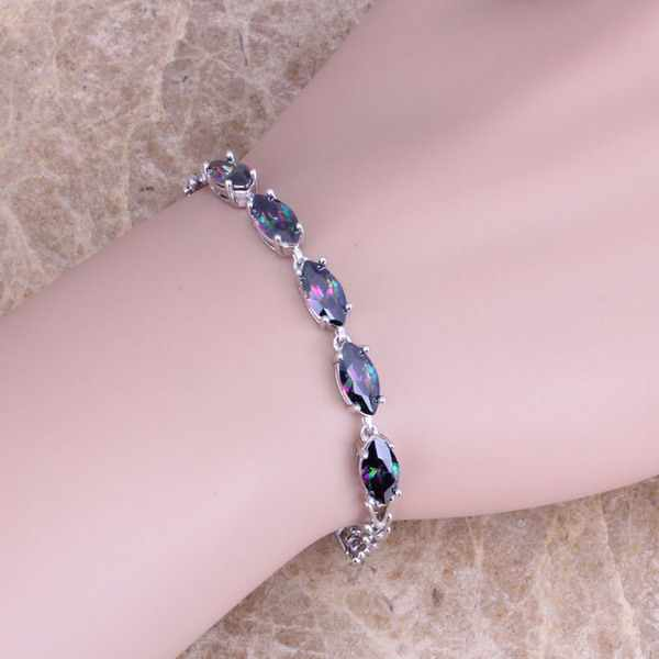 Gracious Rainbow Cubic Zirconia 925 Sterling Silver Link Rantai Gelang 7 inch S0338