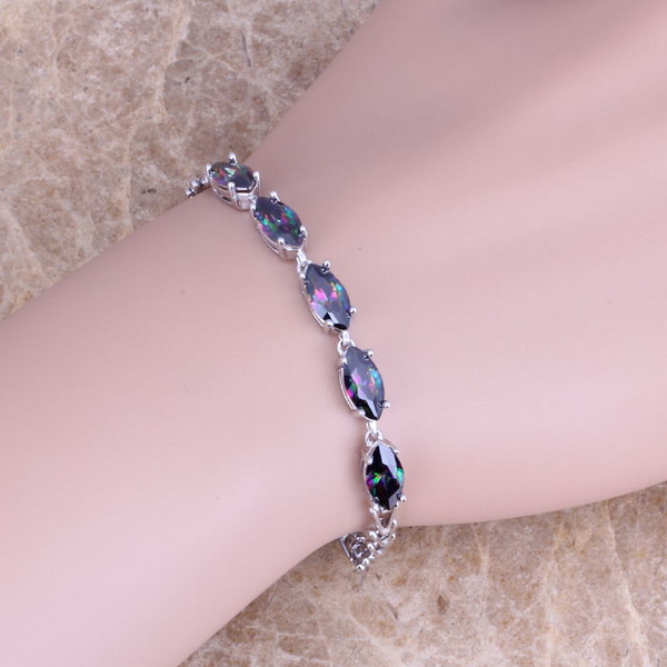 Gracious Rainbow Cubic Zirconia 925 Sterling Silver Link Chain Bracelet 7 inch S0338