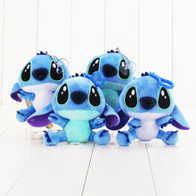 2pcs/lot Stitch 10cm 4style Lilo And Stitch Plush Doll Toy With Keychain Sucker Cartoon Movie Doll Toy Soft Stuffed Doll For Kid(China)