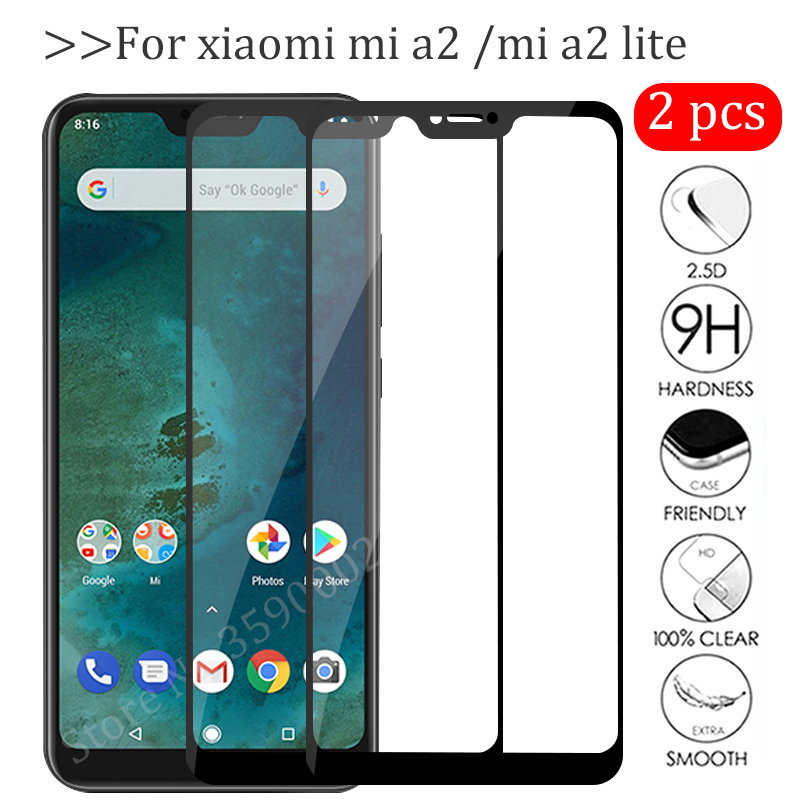 2pcs Protective Glass For Xiaomi Mi A2 Lite Screen Protector Tempered Glas Xiomi Xiaom Mia2 A2lite Mia2lite A 2 Light Cover Film