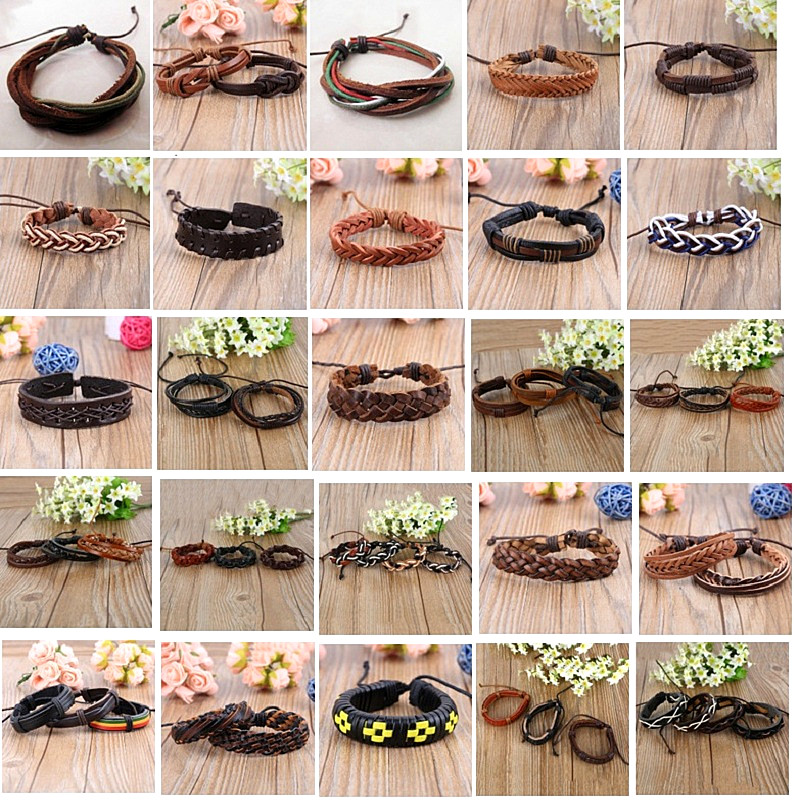 wholesale bulk lots 100PCs mixed different styles men's women's retro vintage Ethnic Tribal leather cuff bracelets brand new-in Bangles from Jewelry & Accessories    1