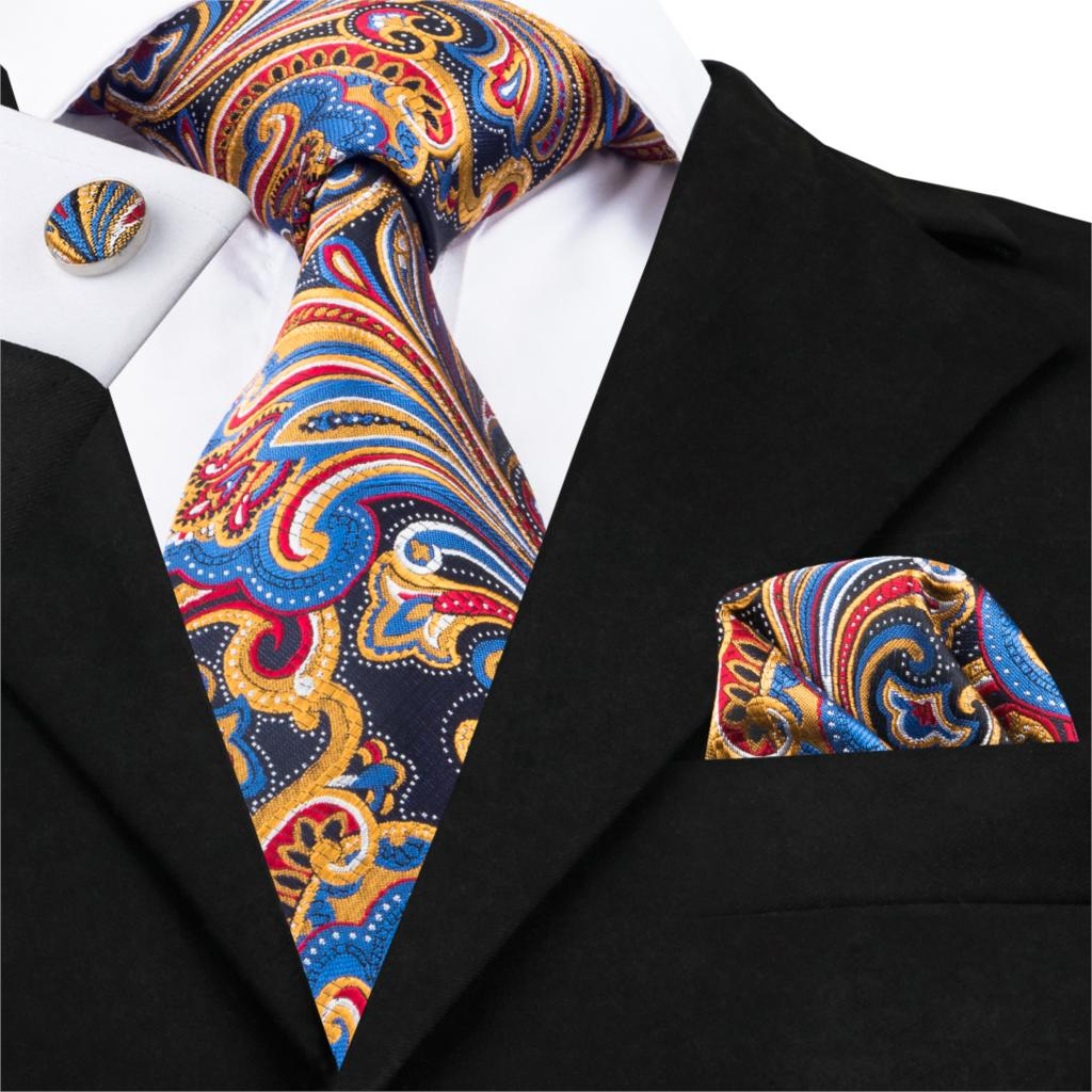 SN-1657 Fashion Silk Mens Ties Floral Paisley Jacquare Woven Ties For Men 8.5cm Formal Suit Neck Tie Square Cufflinks Necktie