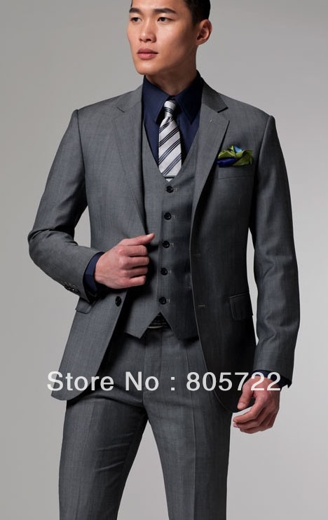 Online Shop custom made grey 3 Piece Suit with vest Wool Suit ...