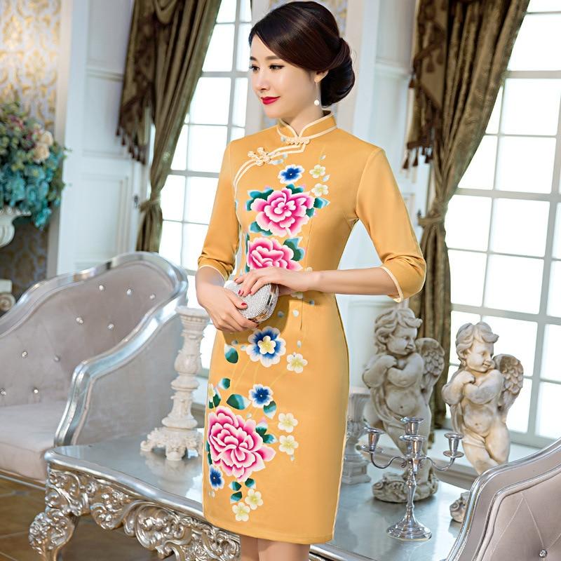 Top Quality Vintage font b Women s b font Gold Wool Short Cheongsam font b Fashion