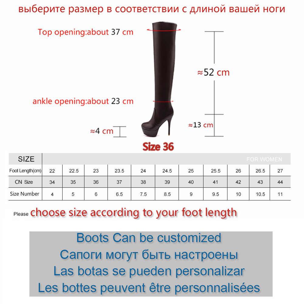 BONJOMARISA artı boyutu 32-46 bayan seksi diz üzerinde uyluk yüksek çizmeler kadın sonbahar moda ince yüksek topuklu Platform kadın ayakkabı kadın