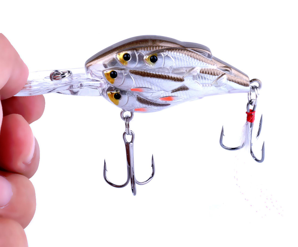 HENGJIA 1 pc Diving Kedalaman Crankbait Fishing Lures Swimbait Isca Umpan Buatan mengambang Fishing Wobblers 7.5 cm 9g pesca peche