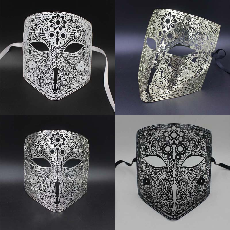 Venetian mask Full Face metal 4 colors high-end Foreign trade products classic diamond prom Half face mask party supplies 6002