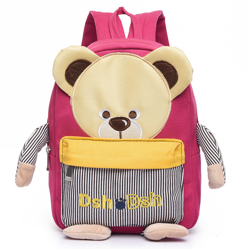 Hot Children Bear Backpack For Kindergarten New Canvas Kids Backpacks Boys Girls School Bags Outside Bags 4 Color