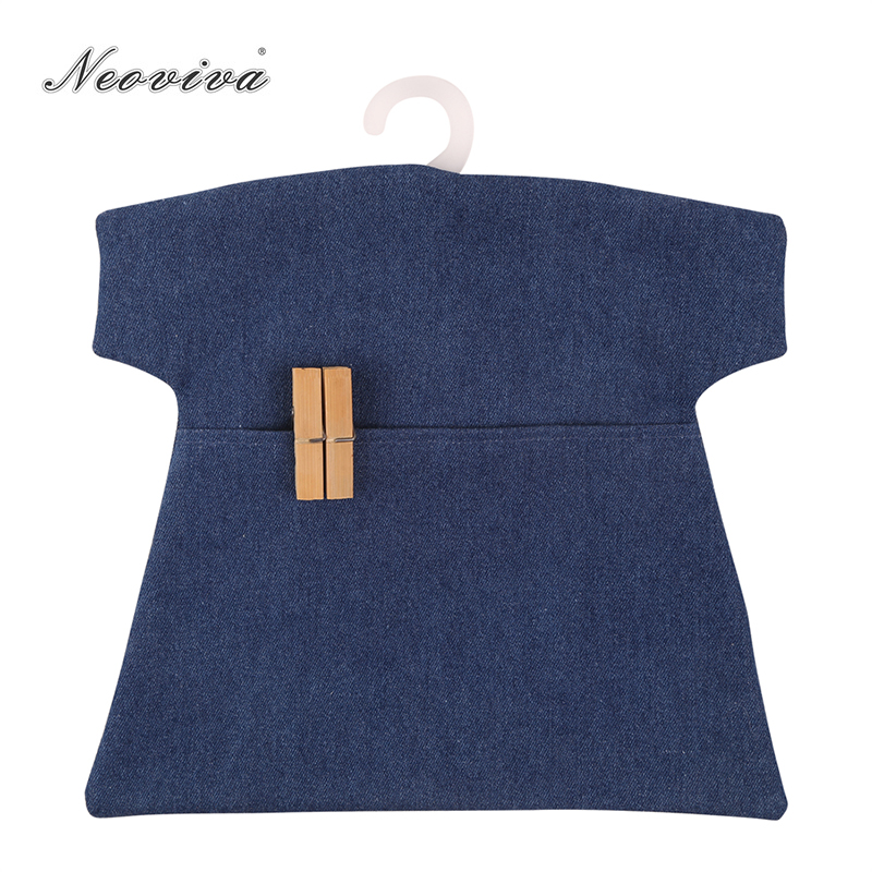 Neoviva Retro Denim Clothespin Bag For Laundry Room, Pack Of 2, Solid Indigo Blue