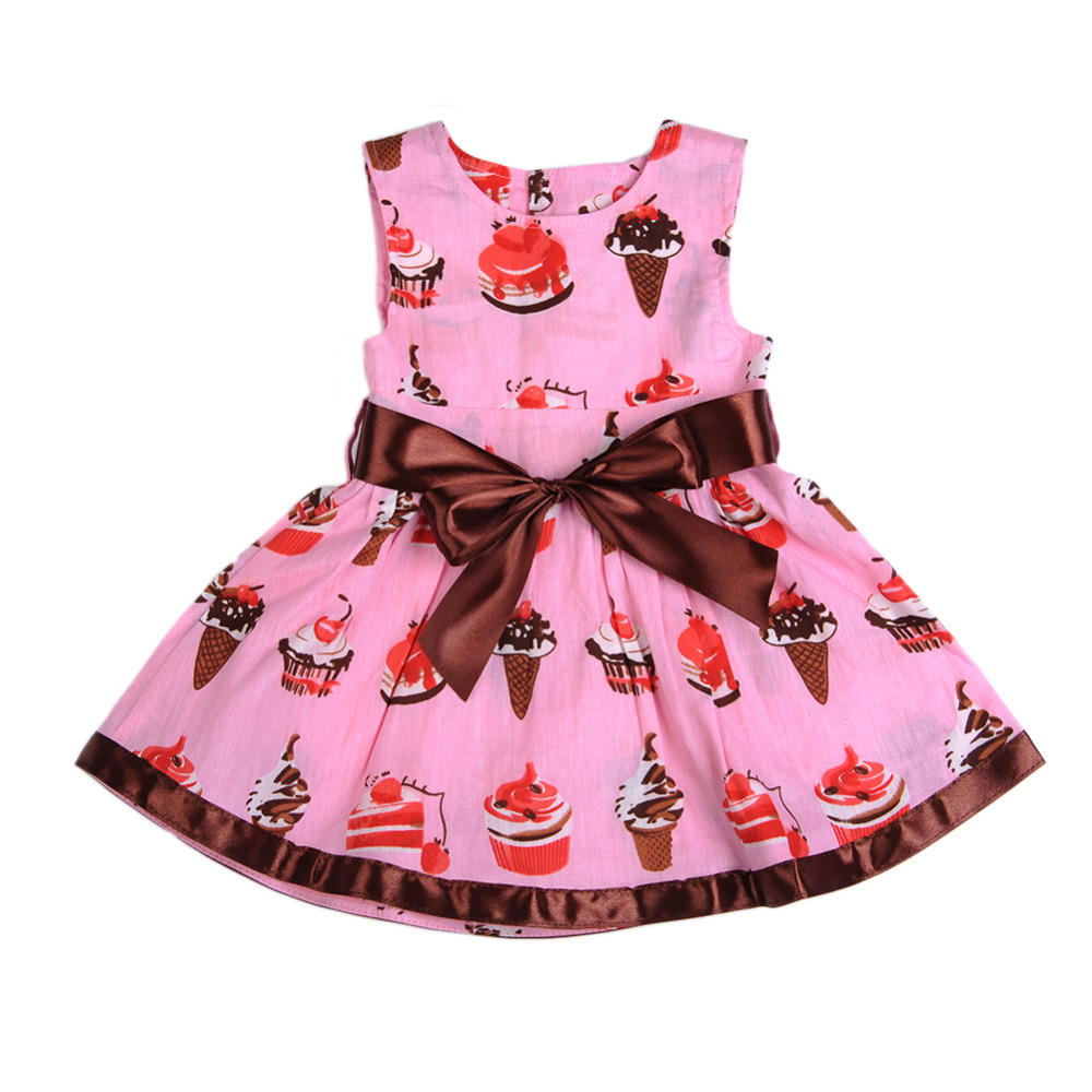 Sleeveless Cute cake ice cream belt section print baby dress 0-24 months Fashion pink soft Baby Climbing clothes
