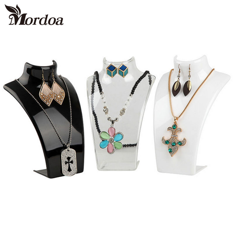 Mordoa Wholesale Black White Transparent Acrylic Necklace Display Shelf Stand Holder Fashion Jewelry Display 1 set