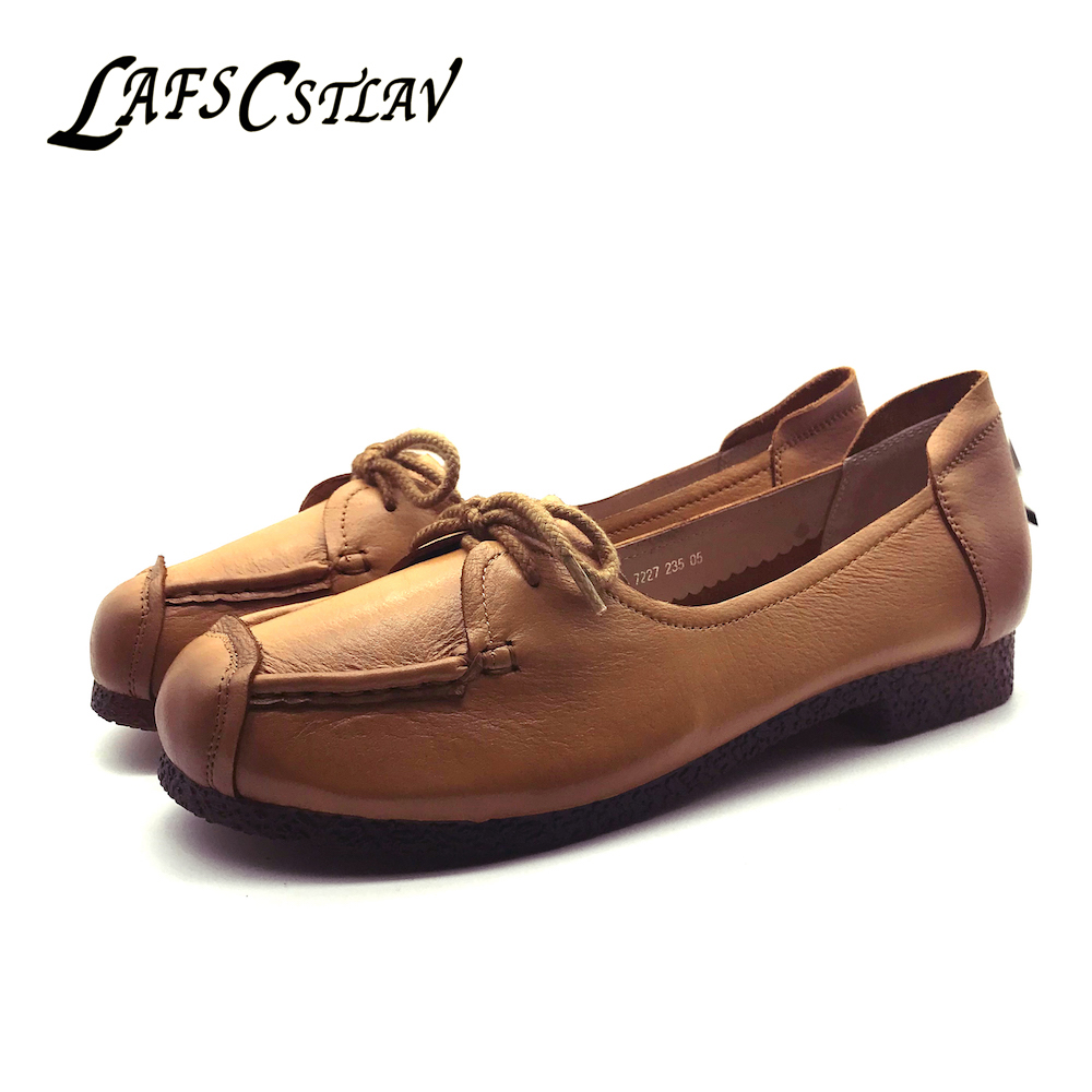 LAFS CSTLAV Genuine Leather Boots Flats Shoes Woman Comfortable Slip On Real Fur Square Toe Fashion Beautiful Women Shoes qmn women crystal embellished natural suede brogue shoes women square toe platform oxfords shoes woman genuine leather flats