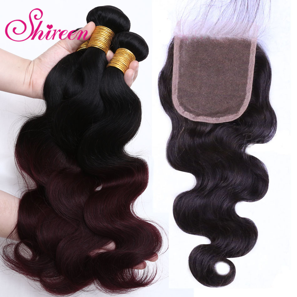 Brazilian Hair Body Wave Burgundy Bundles With Closure Red Bundles With Closure 1B/99J Colored Remy Hair Bundles With Closure