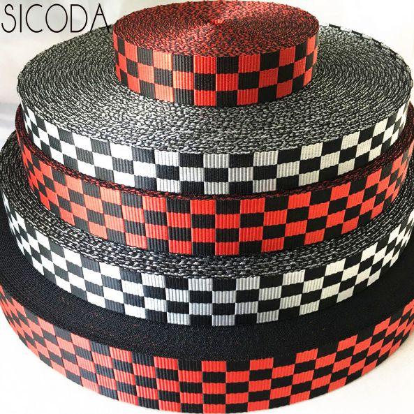 SICODA Heavy Duty Nylon Webbing Strong Binding Tape Bag Strap Checker Style 2.8/3/3.8/5cm 5meters