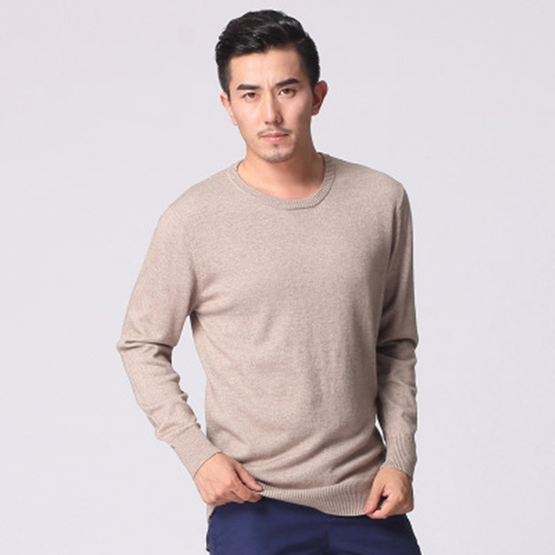 Men's round neck cashmere sweater thin sweater new winter business men Slim sweater men sweater hedging color