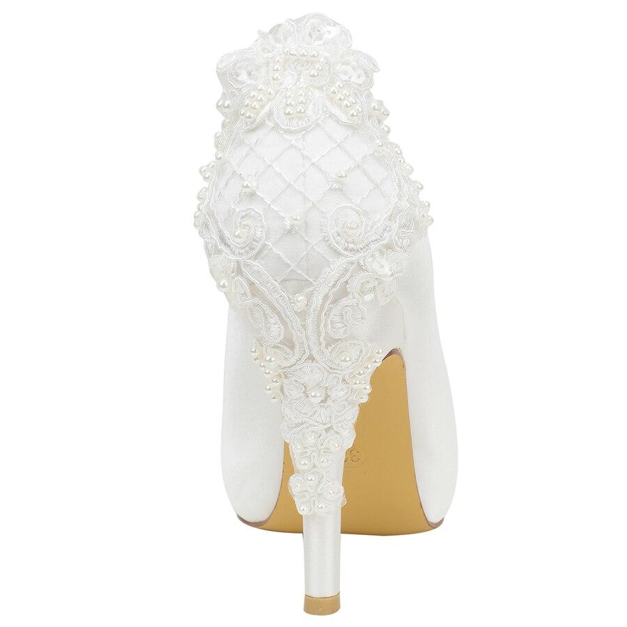 Elfenbein Weiß Hochzeit Uninnova Peep Weiß 521 Satin Toe Heels Plattform Hohe Spitze 31g Schuhe Pumpen Braut Ly Brautjungfer Elegante rrwz6dqAW