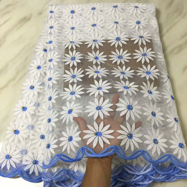 Đẹp sợi sữa tulle ren thêu vải hoa với hạt chất lượng cao dobby phong cách thụy sĩ voile vải ren cho trang phục