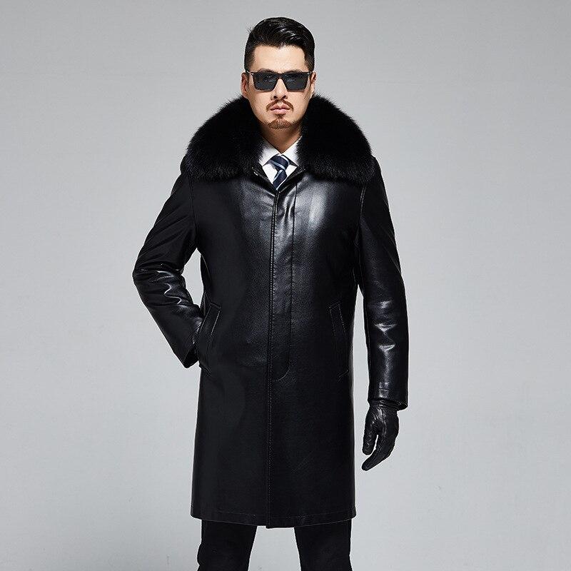 Новинка 1919, модная зимняя одежда, мужская кожаная шуба, натуральный Лисий мех, воротник, длинный мех кролика Рекс, Мужской плащ - 2