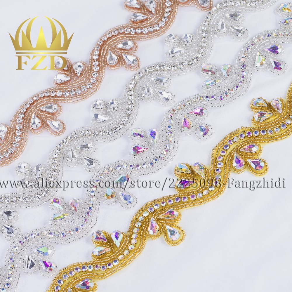 FZD 10 PIECES Handmade Sew Iron On Diamante Clear Beaded Crystal Rhinestone Patch for Wedding Dresses Bridal Sash Garters