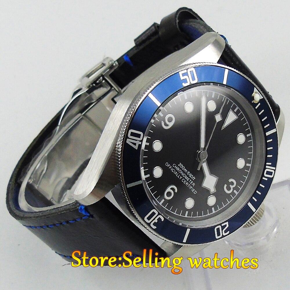 41mm corgeut black dial blue bezel Sapphire glass miyouta automatic mens Watch коньки onlitop 38 41 blue black 1231419