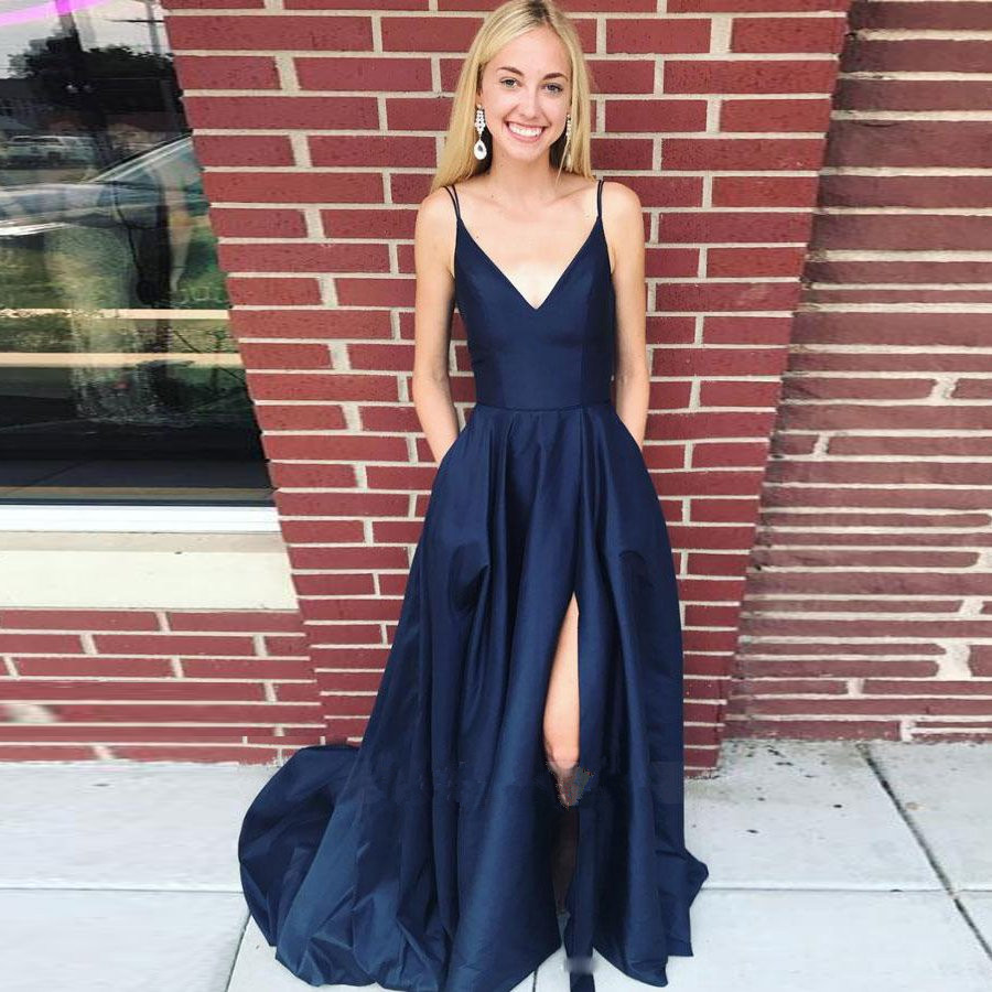 V Neck Navy   Prom     Dress   with Double Straps Floor Length Long   Prom   Gowns Custom Made