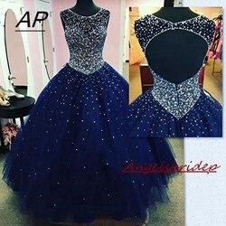 ANGELSBRIDEP Festa Sparking Cristal Beads Tulle Quinceanera Vestidos 2019 Para 15 Doce 16 Bola Vestidos de Debutante Vestido de Festa Personalizado