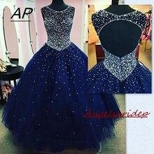 ANGELSBRIDEP Quinceanera платья 2020 вечерние Искрящиеся Кристальные бусины Тюль Сладкие 16 Бальные платья Дебютант вечернее платье на заказ