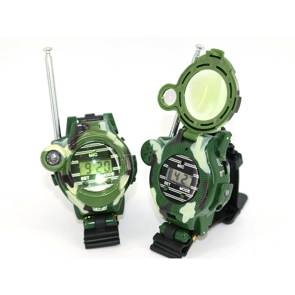 2Pcs Talkie Multi-functional Two Way Radio Toy with Compass Magnifier Toys Children Wrist Watch Reflector